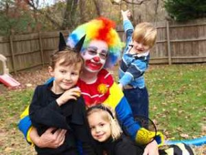 The Clown and a bunch of kids- Nico, Maysa, and Finn