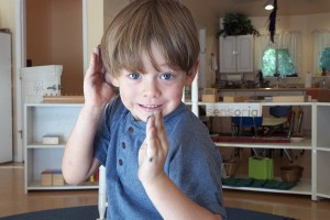 Aiden -- showing his kung fu moves.